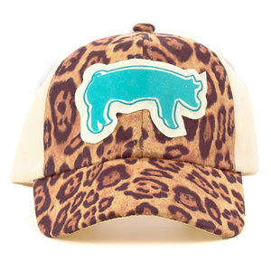 Leopard Hat With Sparkly Turquoise Show Pig
